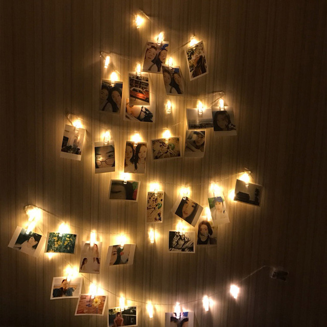 2 yard 20 leds photo clips string lights lamp battery powered for