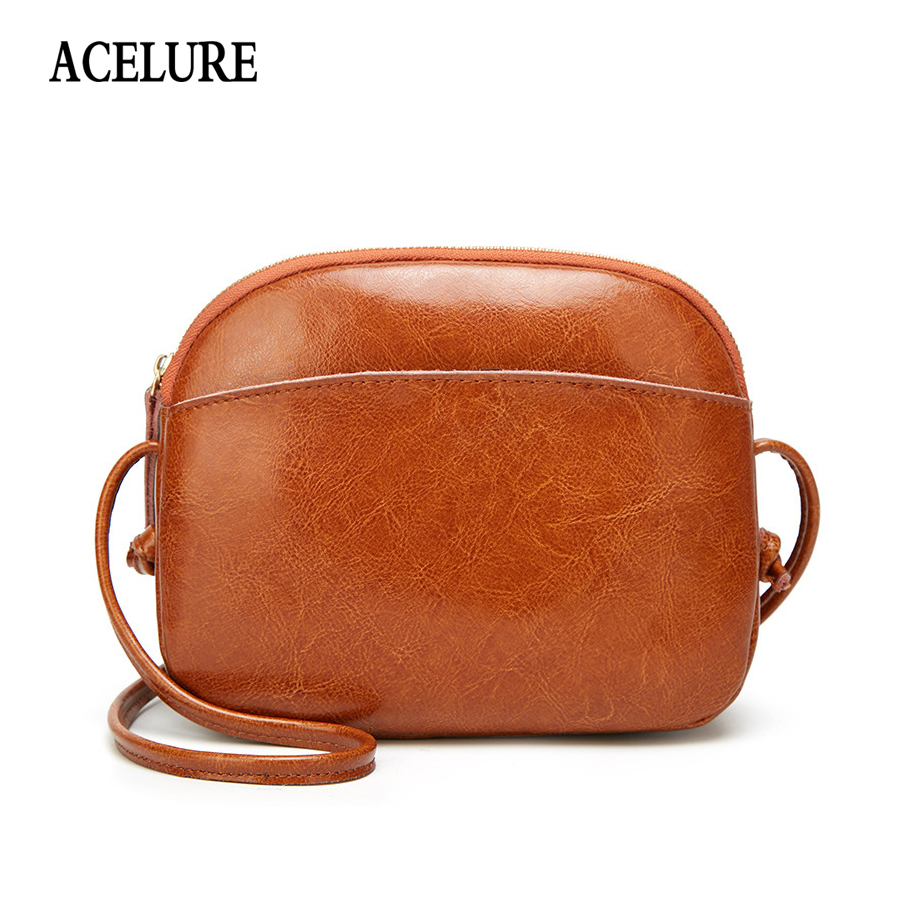 ACELURE Women's Messenger Bag small flap bags Oil wax leather crossbody bags for women 2018 luxury women shoulder bags designer 2017 summer metal ring women s messenger bags solid scrub leather women shoulder bag small flap bag casual girl crossbody bags