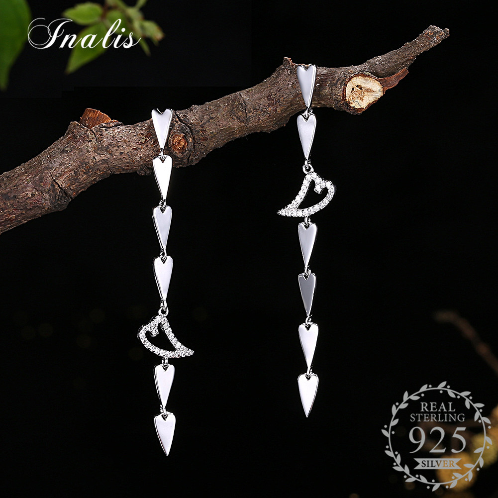 INALIS Romantic Heart Drop Long Earrings 2018 New 100% 925 Sterling Silver Wholesale Jewelry Brincos with Cubic Zircon CZ