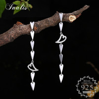 INALIS Romantic Heart Drop Long Earrings 2017 New 100 925 Sterling Silver Wholesale Jewelry Brincos With