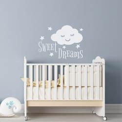 Сладкие сны Цитата стены Стикеры спальный облако со звездами украшения дома Красота модные Kidsroom Декор плакат на стену W5