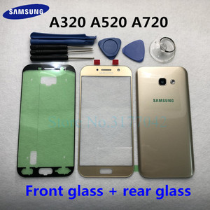 Image 1 - For Samsung Galaxy A5 A3 A7 2017 SM A520F A320F A720F Front Touch Panel Outer Lens + Rear Battery Door Back Glass Housing Cover