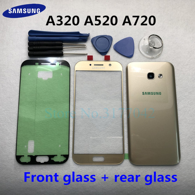For Samsung Galaxy A5 A3 A7 2017 SM A520F A320F A720F Front Touch Panel Outer Lens + Rear Battery Door Back Glass Housing Cover