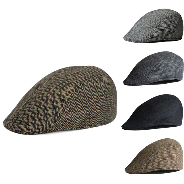 329fee6e2404 5 Color Mens Tweed Flat Cap Herringbone Country Beret Hat Farmer Golf  Classic free shipping