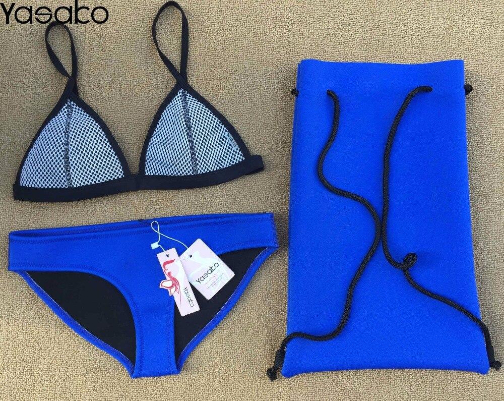 YASAKO Women's Neoprene Swimsuit Sexy Neoprene Swimwear Bikini Neoprene Bathing Suit Bikinis Set free shipping 2017 crochet neoprene bikini set new style swimwear bikini sexy bikini bathing suit