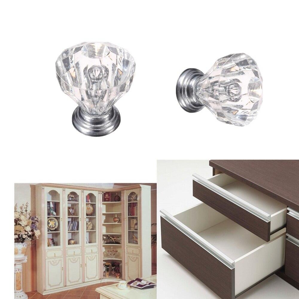 Diamond Shape Crystal Glass Knobs Cupboard Pulls Drawer