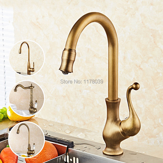 Antique Bronze Kitchen Faucet Rail System American Style Brass Retro Rotating Single Handle Sink Vintage J17064