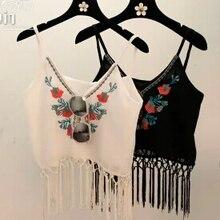 Summer style Loose Vest Women Court fringed Embroidered Flower Crochet Tanks Tops knitting v neck tee
