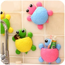 Cartoon Turtle Toothbrush Holder Plastic Wall Suction Cups Shower Toothpaste Hooks Bathroom Accessories