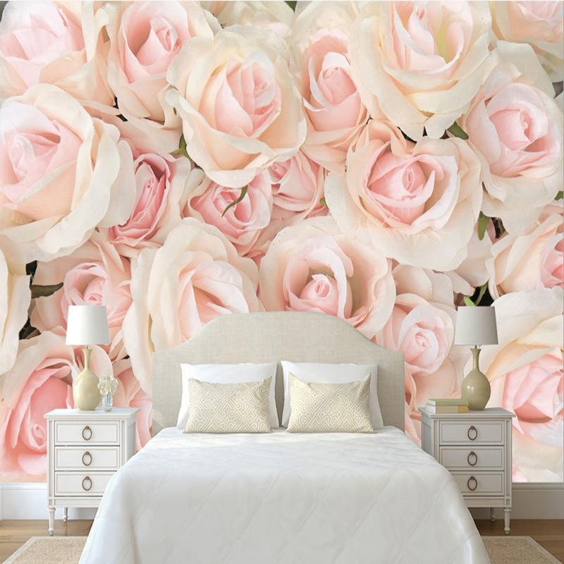 pink rose wall bedroom romantic 3d murals modern walls background living mural tv wallpapers paper warm covering zoom bacal compare