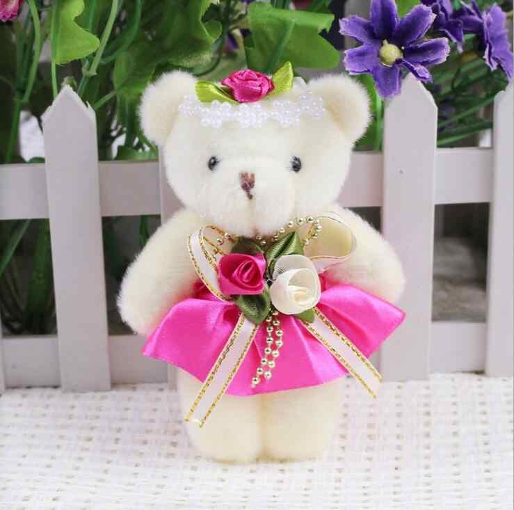 Permen Bunga Busur Beruang Mainan Mewah Satin Kartun Buket Mewah Boneka Beruang Pernikahan Anak Telepon Mainan Kunci Liontin untuk Natal hadiah