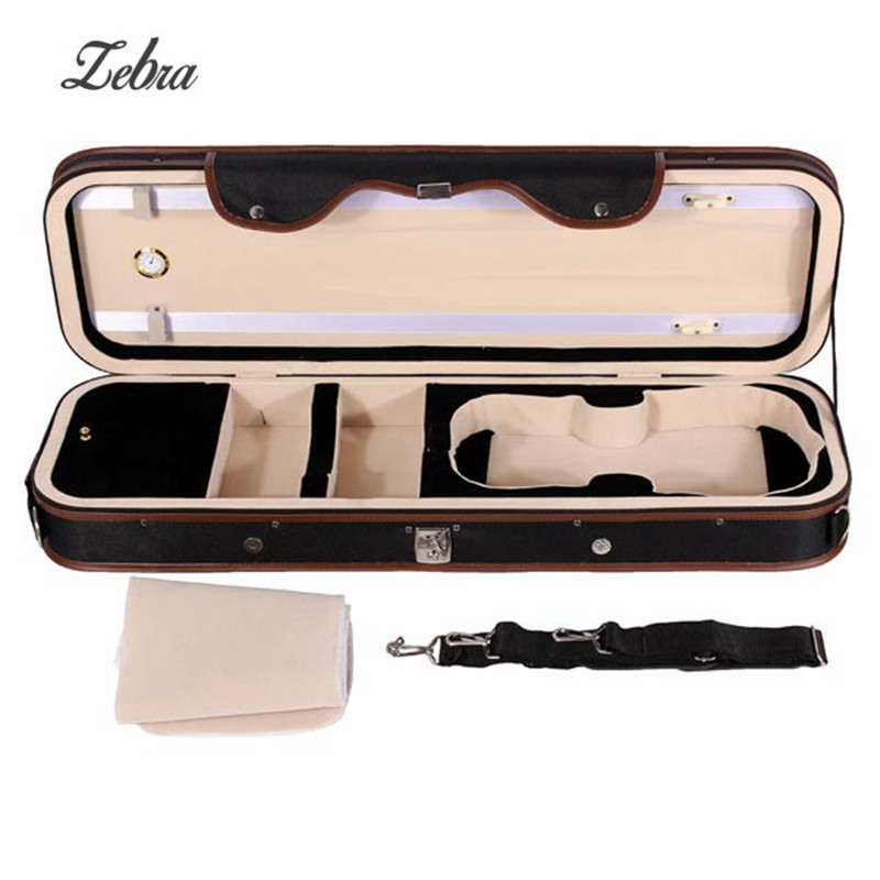 Zebra 4/4 Violion Case Box Violin Bag Case Cover with Humidity Table Straps Locks Waterproof For Stringed Musical Instruments 4 4 electric acoustic violin basswood fiddle with violin case cover bow rosin for musical stringed instrument lovers beginners