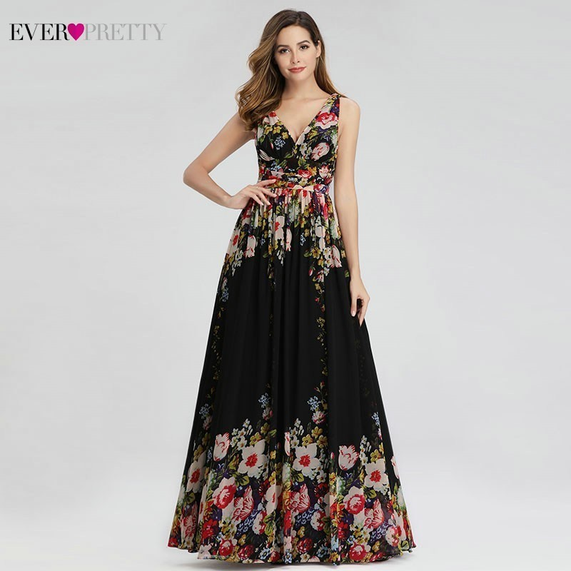 Ever Pretty Elegant Floral Printed Evening Dresses Long A-Line V-Neck Sleeveless Sexy Chiffon Formal Dresses Abiye Gece Elbisesi
