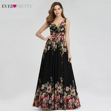 Hiç Pretty zarif çiçek baskılı Abiye uzun A-Line v yaka kolsuz seksi şifon resmi elbiseler Abiye Gece Elbisesi