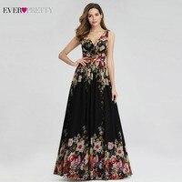 Ever Pretty Elegant Floral Printed Evening Dresses Long A Line V Neck Sleeveless Sexy Chiffon Formal Dresses Abiye Gece Elbisesi