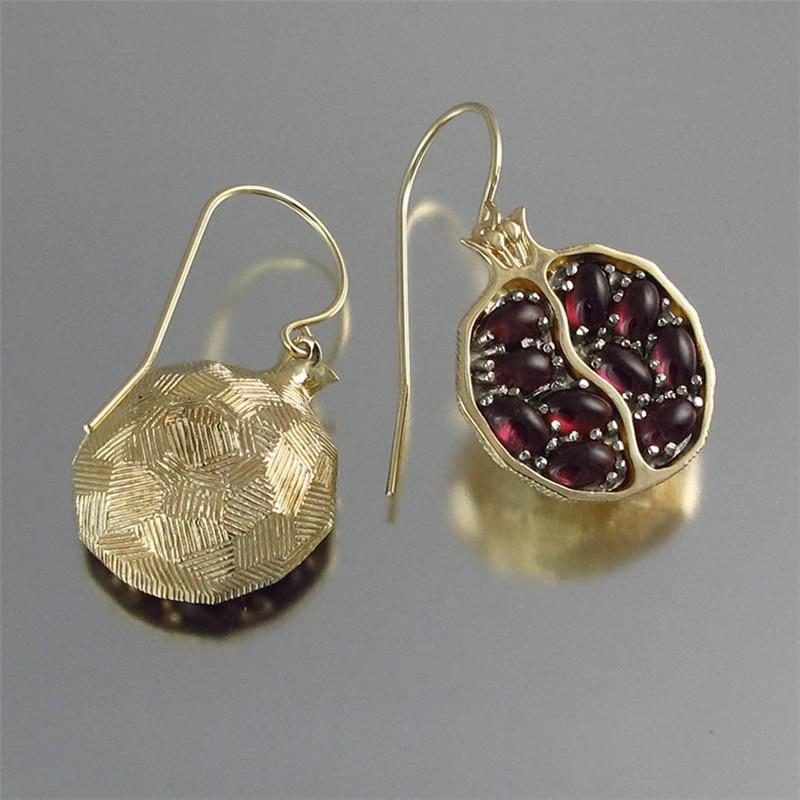 Fruit Red Natural Garnet Stone Earrings for Women Vintage Long Dangle Earrings Gold Pomegranate Jewelry Round Drop Earings C15