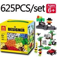 625PCS/pack DIY Designer City Building Bricks Blocks Wange Compatible with Legoingly Duploed Small Parts Classical Educational