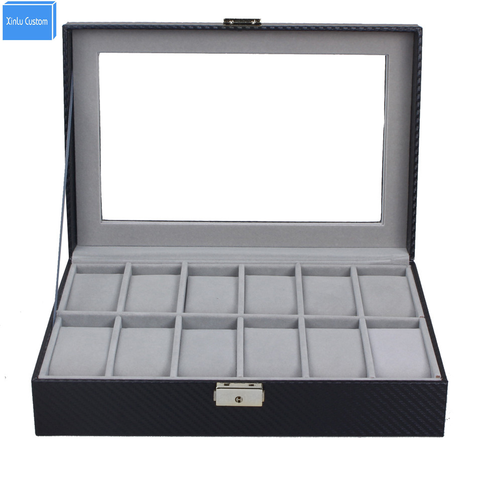 Luxury Display Carbon Fiber Wrist Watch Box 12 Slot Collection Pattern Watch Gift Box Case Holds Family Useful Daily Boxes carbon fiber pattern brand watch box black pu leather watch display boxes with lock fashion men s women s storage gift box c032