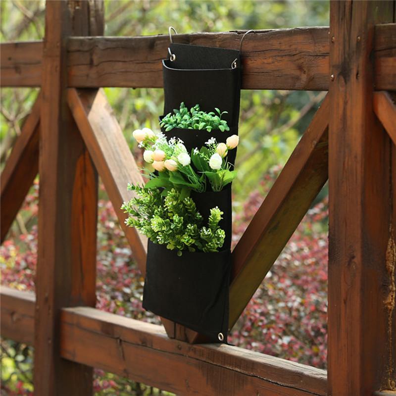 jardn colgante bolsillos negro colgando pared vertical garden planter flor plantacin de bolsas olla hogar