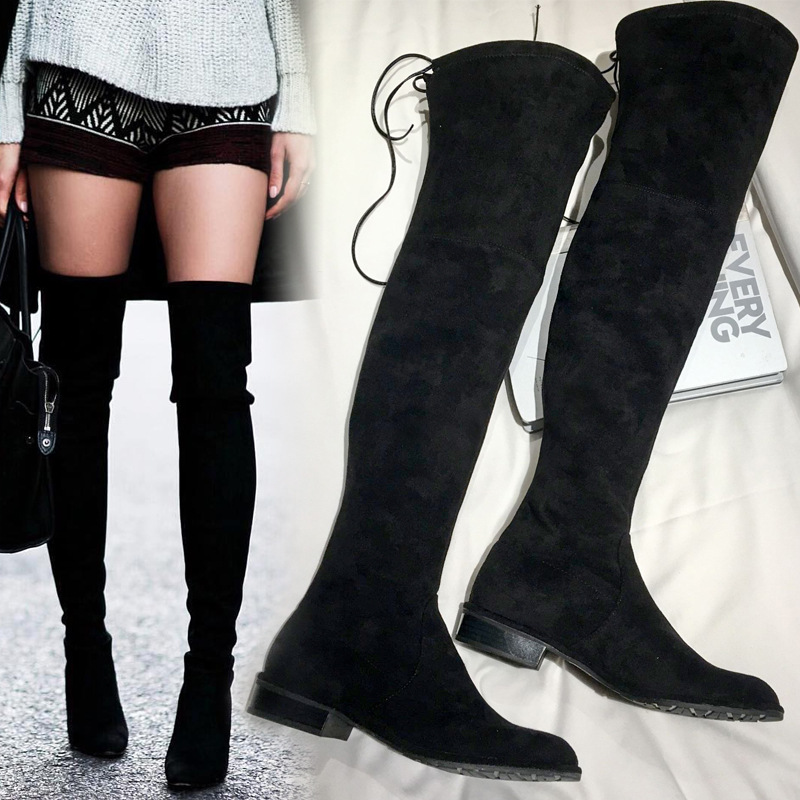 купить Spring Autumn Over Knee Boots Womens 2017 flat knee high boots High Heels Stretch Thigh High Boots Slip on Black Women Shoes дешево