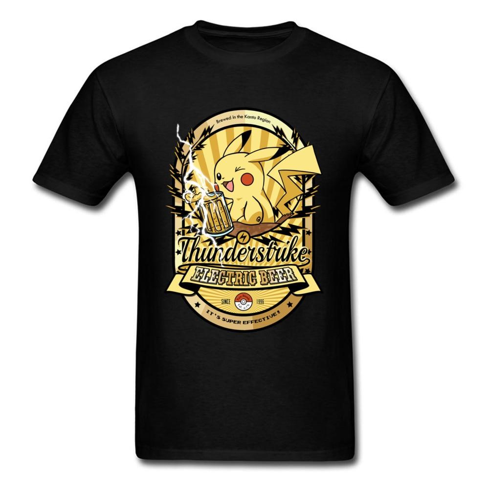 Thunderstrike Beer T Shirt Pokemon Tshirt Men Cartoon Clothing Funny Tops Mens Tees Graphic T-shirt Pocket Monster
