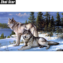 Wolf counted cross stitch kits paste painting the living room needlework kits 0135R- Square Diamond Embroidery zx