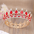 Baroque Red Crystal Head Jewelry European King Queen Rhinestone Tiara Quinceanera Bride Crown Wedding Prom Round Tiaras Crowns