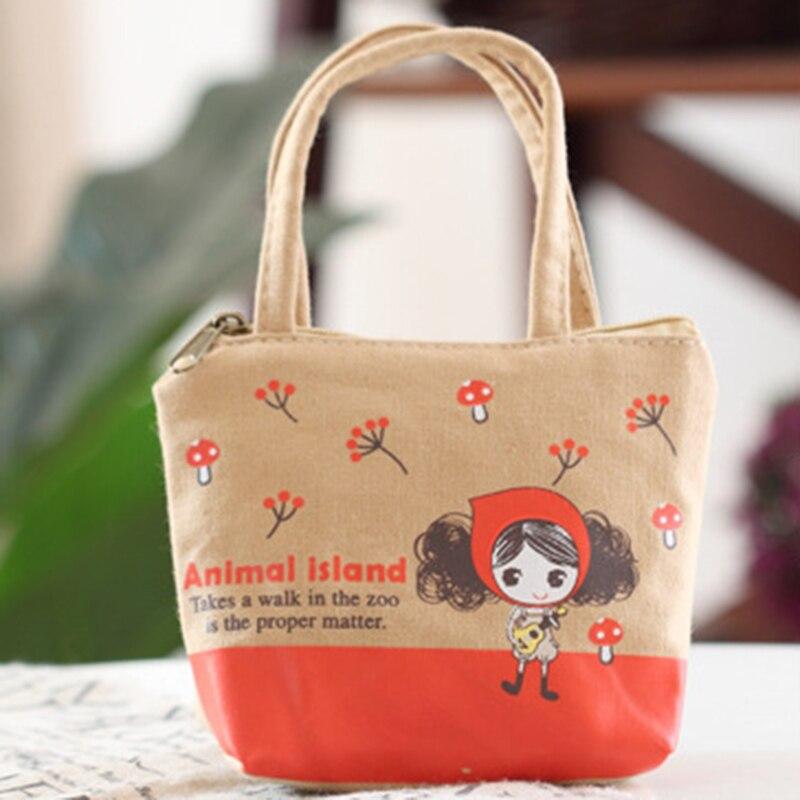 Korean Lovely Women Mini Coin purse Wallet Key Pra Girl Carrying Canvas Zero Wallet Cartoon Cute Cloth Key&Coin Bags monedero