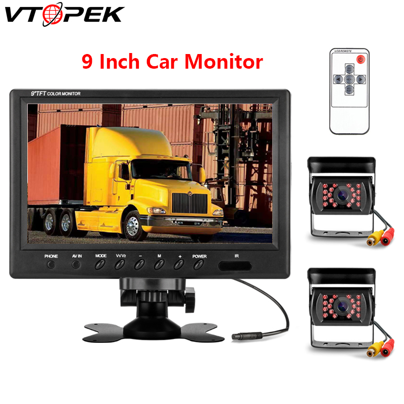 Vtopek 9 inch car monitor HD car display 800 480 12V 24V Reverse image 360 degree
