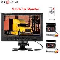 Vtopek 9 inch car monitor HD car display 800*480 12V 24V Reverse image 360 degree flip Automobile console installation Turck