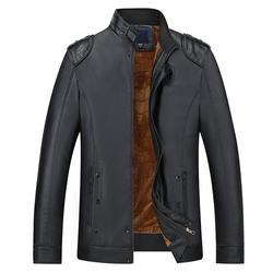 Новая зимняя бархатная Теплая мужская куртка из искусственной кожи, повседневная кожаная куртка с воротником-стойкой, Мужская