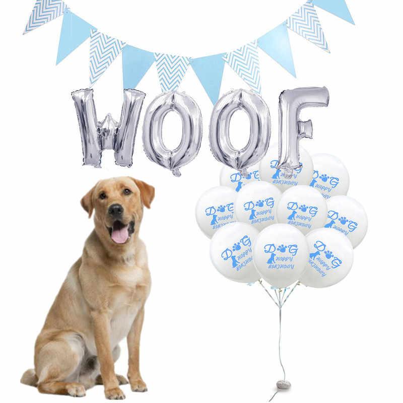 12 インチ漫画の犬フットプリントハッピーバースデーラテックスバルーンペットの子犬の犬誕生日パーティーの装飾花輪バナー手紙横糸