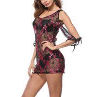 Bikini Off Shoulder Dress Print Lace Coverup Cover Up 5