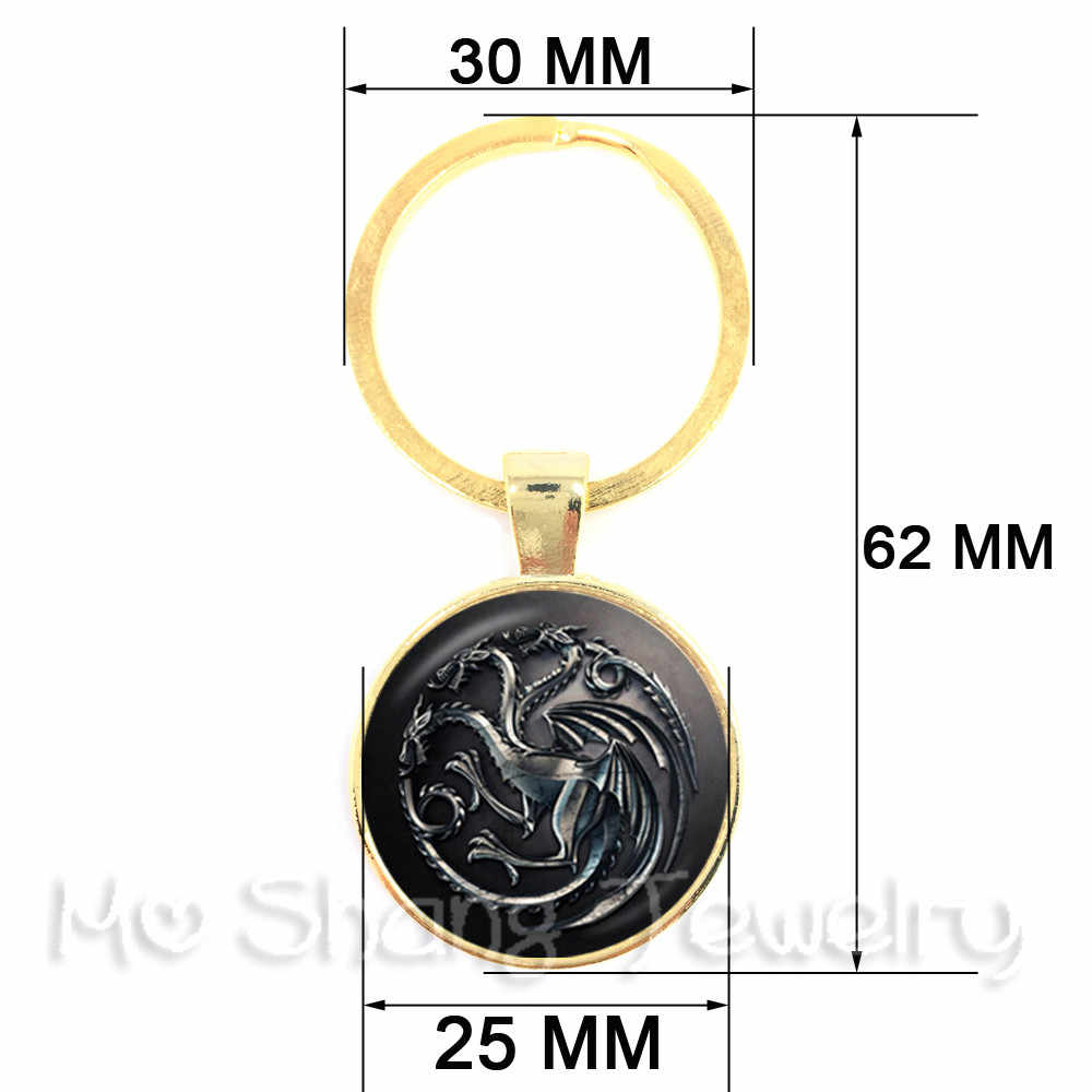 Инь Ян брелок со стеклянным кабошоном кольцо для ключей стеклянный купол для ключа цепи Китай Tia Chi ювелирные изделия Инь-Янь Дракон кошка Key Holder