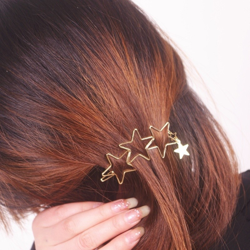 HTB18ILXMXXXXXbrXpXXq6xXFXXXj Classy Gold Plated Five Stars Tassel Hairpin Accessories For Women