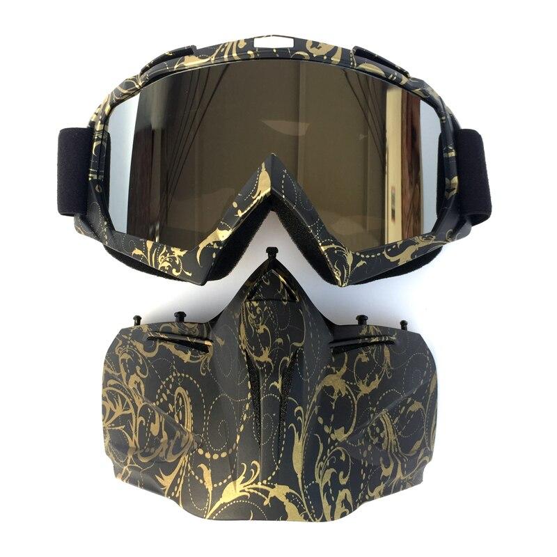 Máscara extraíble Modular para ciclismo, gafas de estilo de carbono, filtro de boca para hombres, perfecto para casco de motocicleta de cara abierta