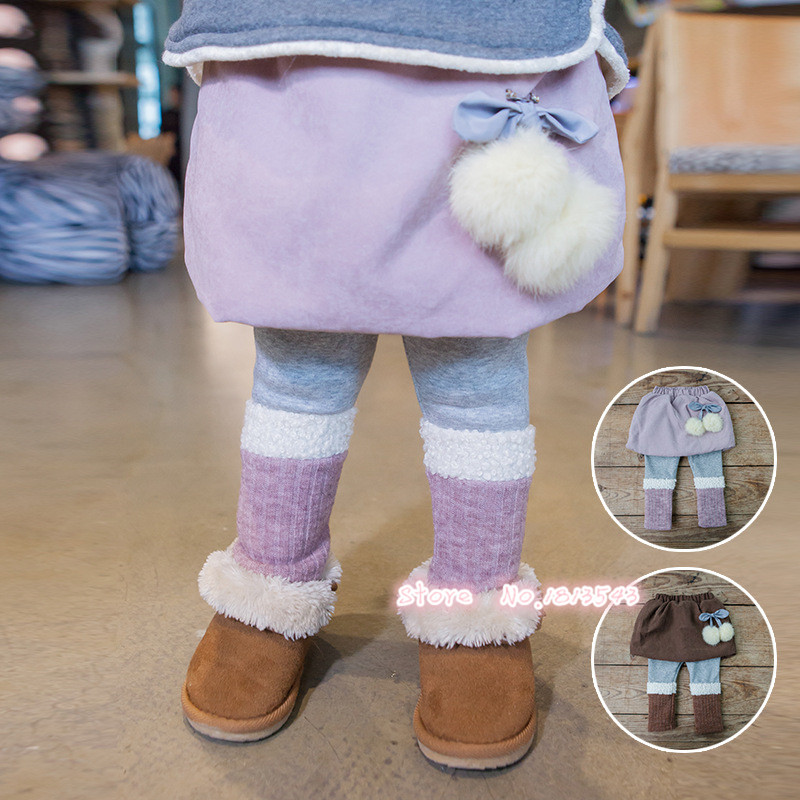 New winter fashion kids clothes girls warm pants with skirt 2-5 years children's clothing Lamb Wool knitting spliced plush ball drawstring spliced camo jogger pants