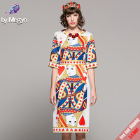 FREE DHL 2018 Runway Fashion Desinger Dress High Quality Women's Half Sleeve Flower Appliques Playing Cards Q printed Dresses
