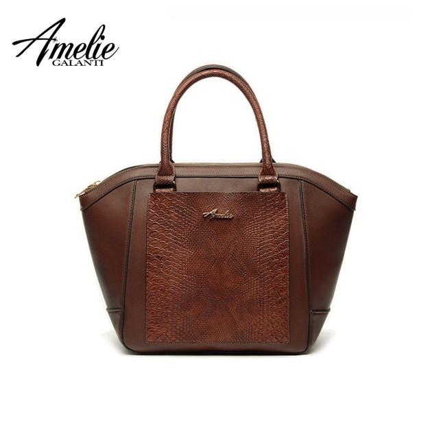 AMELIE GALANTI Women Leather Handbags Shoulder Bag Vintage Patchwork Serpentine Hard PU Leather Female Versatile Totes Alligator