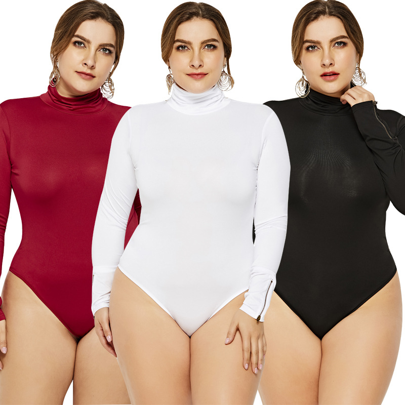 5XL6XL Jumpsuits For Women Long Sleeve Turtleneck Slim Women Sexy Bodysuit Black White Red Knitted Plus Size Women   Romper   Zipper