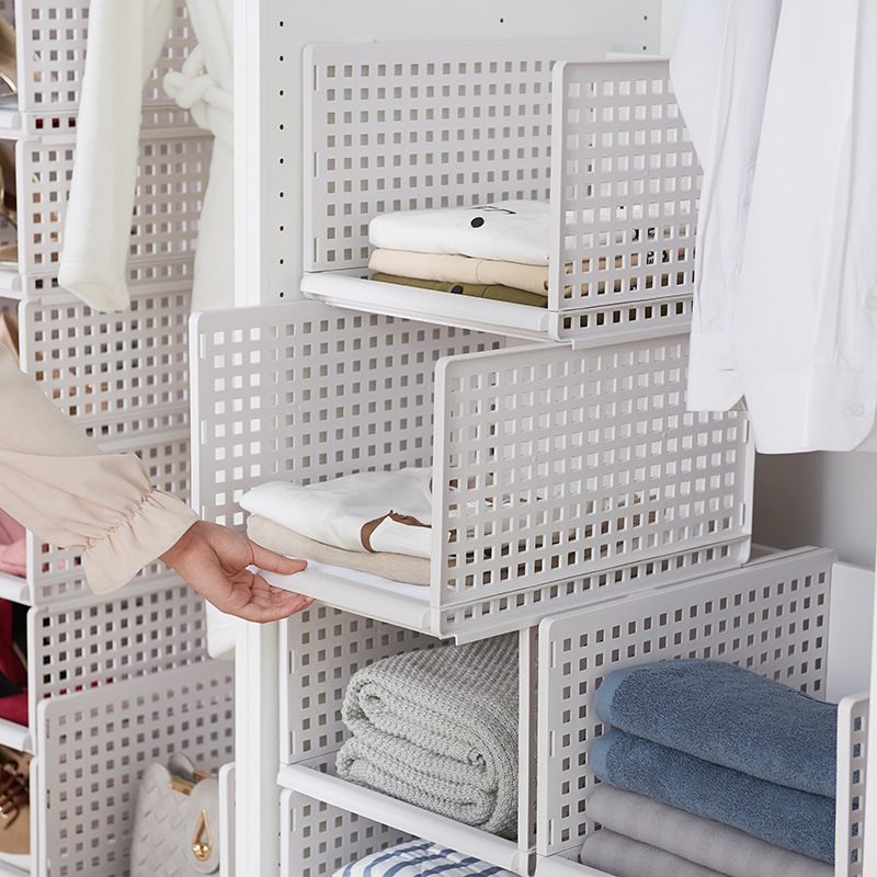 Practical Detachable Clothes Storage Rack Wardrobe Partition Board Rack Drawer Easy Layered  Drawer Storage Baskets Frame