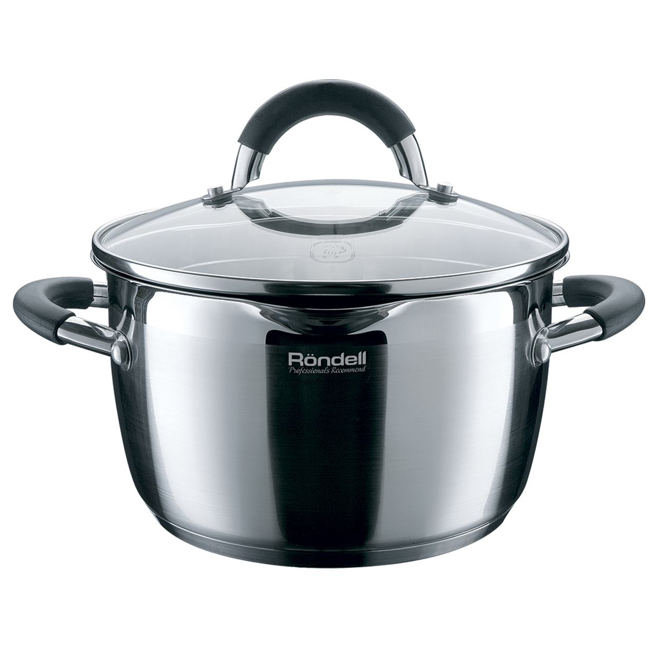 Фото - Saucepan with lid Rondell Flamme RDS-025 (Diameter 24 cm, Volume 5.7 L stainless steel, suitable for all types of plates) saucepan with lid eurostek es 1007 volume 4 5 liter diameter 22 cm пятислойное bottom suitable for all types of plates