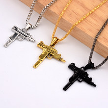 3 Color Accessories Fashion Hot Pistol Gun Uzi Necklaces men Hip Hop Dance Franco Chain Maxi Charm Long Pendant Necklace(China)