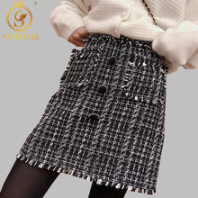 SMTHMA High Quality New Fashion 2019 Runway Designer Skirt Women's Single-breasted Tweed Wool Tassel Mini Skirt(China)
