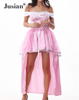 Jusian Women's Sexy Costume Sets With G-string Cosplay Uniform Party Costume Adult Exotic Apparel Pink YZM1243