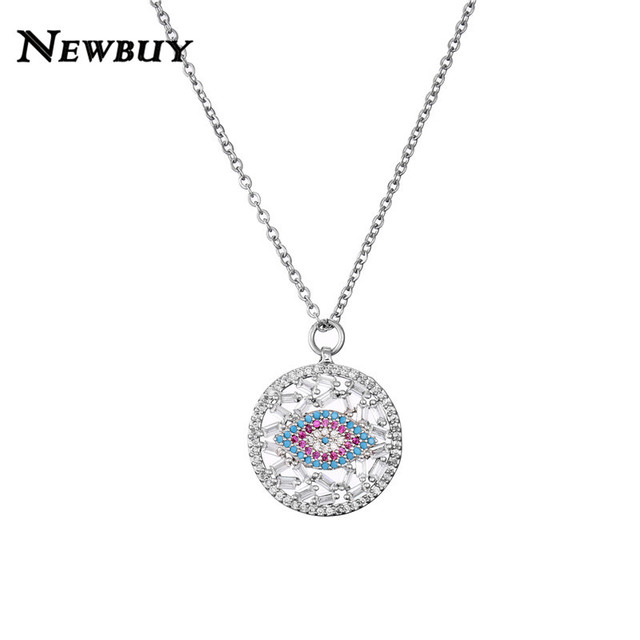 Newbuy Fashion Kristal Kalung Rantai Link AAA + Cubic Zirkonia Mata Jahat Liontin Kalung untuk Wanita Hadiah Hari Valentine