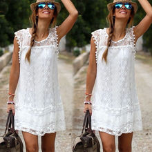 White Hollow Lace Sexy 숙 녀 Women Beach Dress 비치웨어 여름 휴. Short Mini Dress Vestidos(China)