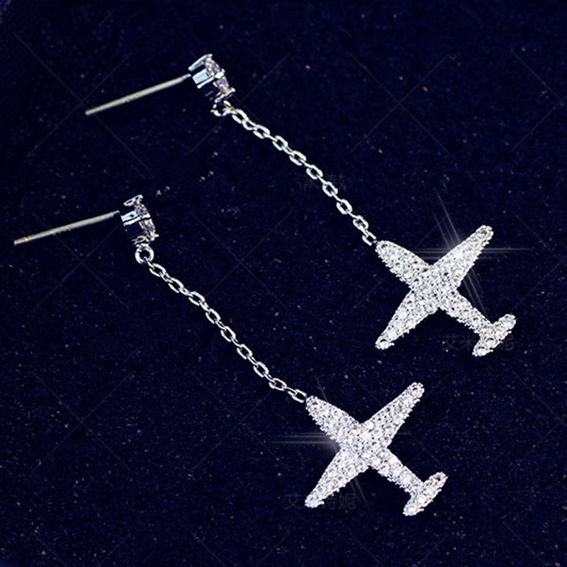 Daisies 925 Sterling Silver Zircon Airplane Drop Earring Statement Jewelry Women Party Gift Shining Aircraft Earring for Lady image