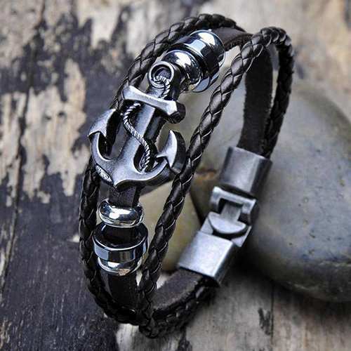 Hot sale! Men Vintage Metal Anchor Steel Studded Surfer Faux Leather Bangle Cuff Bracelet AIXA