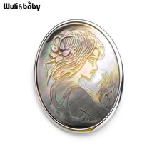 Wuli&Baby Natural Shell Queen Head Women Brooches Alloy Metal Shell Girl Banquet Weddings Brooch Badge Gift Scarf Buckle